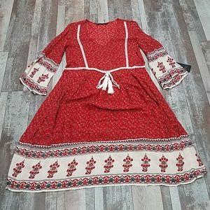 Zara boho bell sleeve 70's midi dress size M